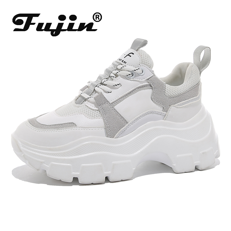 Fujin 2020 Chunky Sneakers Women Spring Thick Bottom Daddy Shoes Thick Bottom Round Toe Breathing Leisure Women Shoes