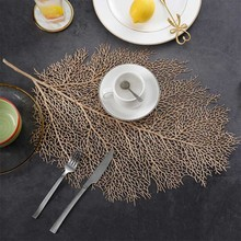 Simulation coral branch hot stamping hollow PVC table mat Nordic decoration gold plated western place insulation pad