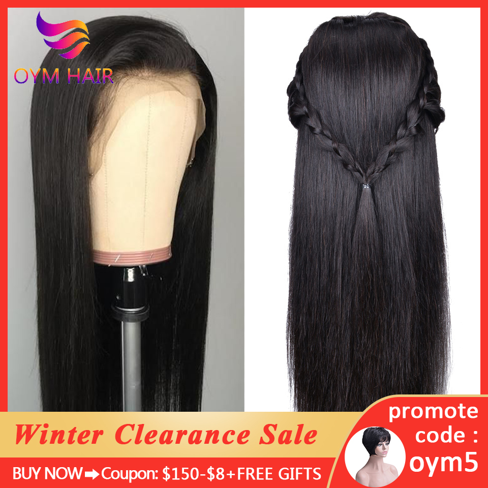 OYM HAIR Brazilian Straight Lace Closure Wigs Pre Plucked Hairline With Baby Hair 150% Density Remy Human Hair 4x4 Closure Wigs