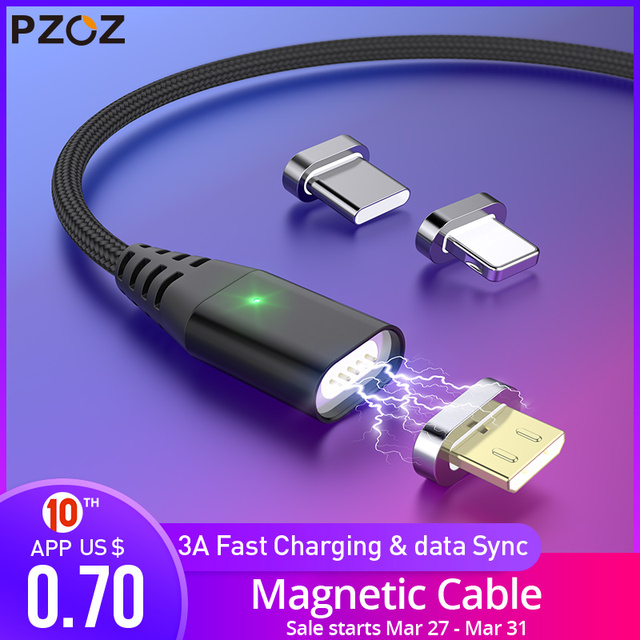 PZOZ 1M 2M Magnetic Cable Micro usb Type C Fast Charging Microusb Type-C Magnet Charger Wire usb c For iphone 11 X Xr usb cable 1