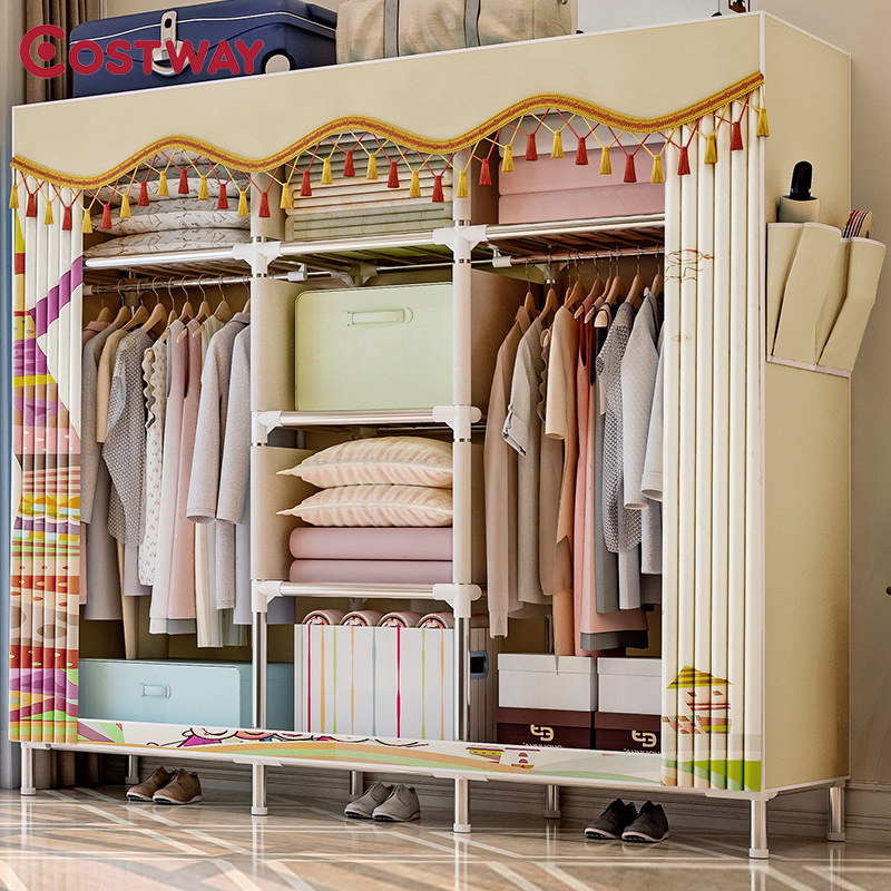 COSTWAY Cloth Wardrobe For clothes Fabric Folding Portable font b Closet b font Storage Cabinet Bedroom