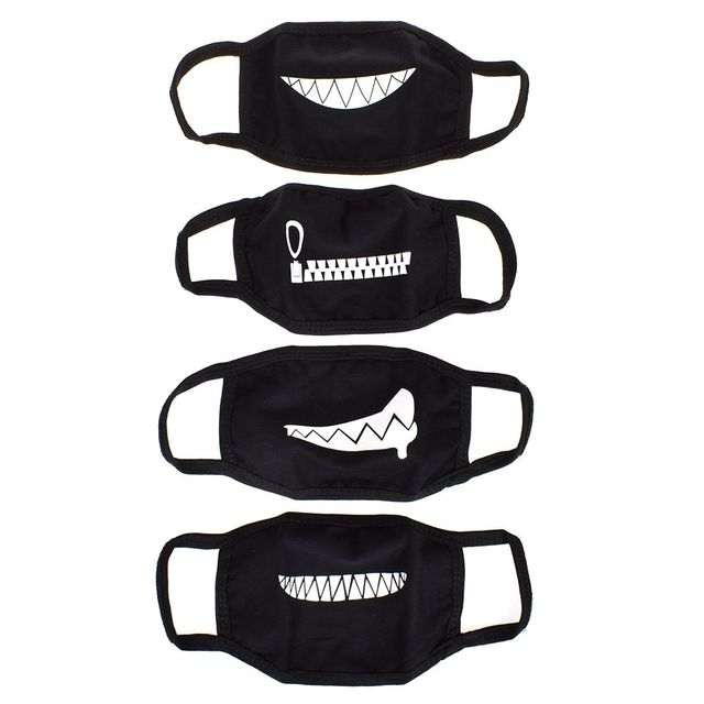 Funny Expression Smile Anti Dust Mouth Face Mask For Mouth Korean Black Kpop Unisex Kawaii Face Mouth Muffle Mask Cotton Fashion 3