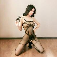 NIKOANA donna Sexy Lingerie Porno cavallo aperto calze vuote reggicalze collant trasparente collant Porno calza lunga