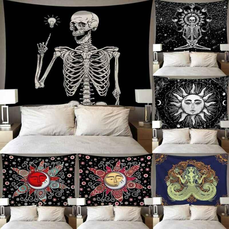 Skeleton schädel Wolf brief frau mann gedruckt wandteppich dekoration polyester wand dünnen stoff decke für zu hause schlafzimmer Büro