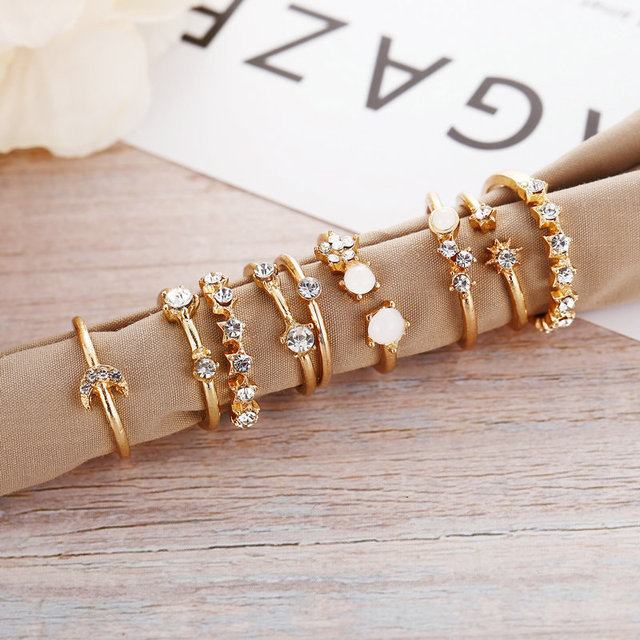 Vintage Gold Color Crystal  Star Moon Rings Set For Women Boho Knuckle Finger Ring Female Fashion Jewelry Accessories 2020 New 6