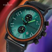 reloj hombre BOBO BIRD Waterproof Watch Men Top Luxury Stylish Luminous Watches Date Display Wood Clock for Man OEM Dropshipping