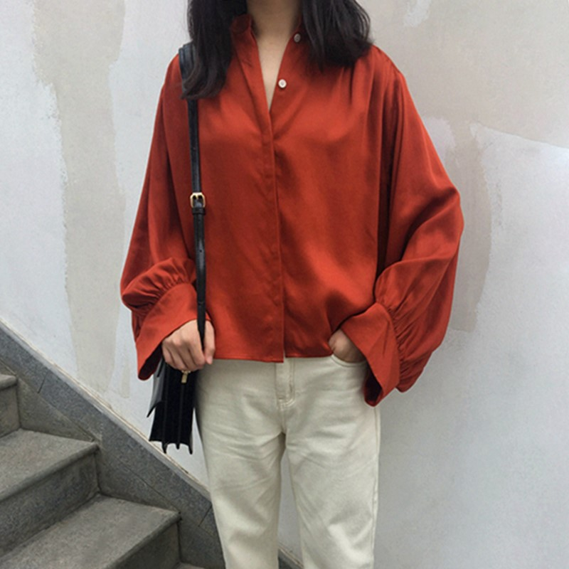 Early Autumn Women shirt Retro long sleeve loose blouse small stand collar ladies blouse vintage holiday clothes
