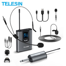 TELESIN UHF Wireless Microphone With Bodypack 50M Transmitter Mini Lapel Head Hand Mic Portable Receiver For Camera and Phone