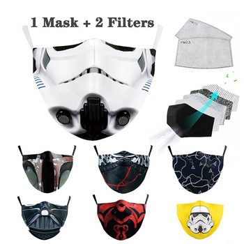 Unisex Cotton Space Warrior Print Adults Mask Cotton Adults PM2.5 Masks Windproof Mouth-muffle Reusable Washable Mouth Maske