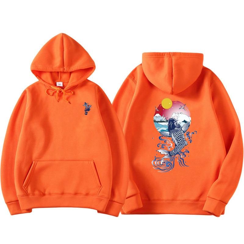 Man Hoodies Sweatshirts Fish And Dragon Carp Printing Ethnic Style Hip Hop Long Sleeve Streetwear Casual Hoodie