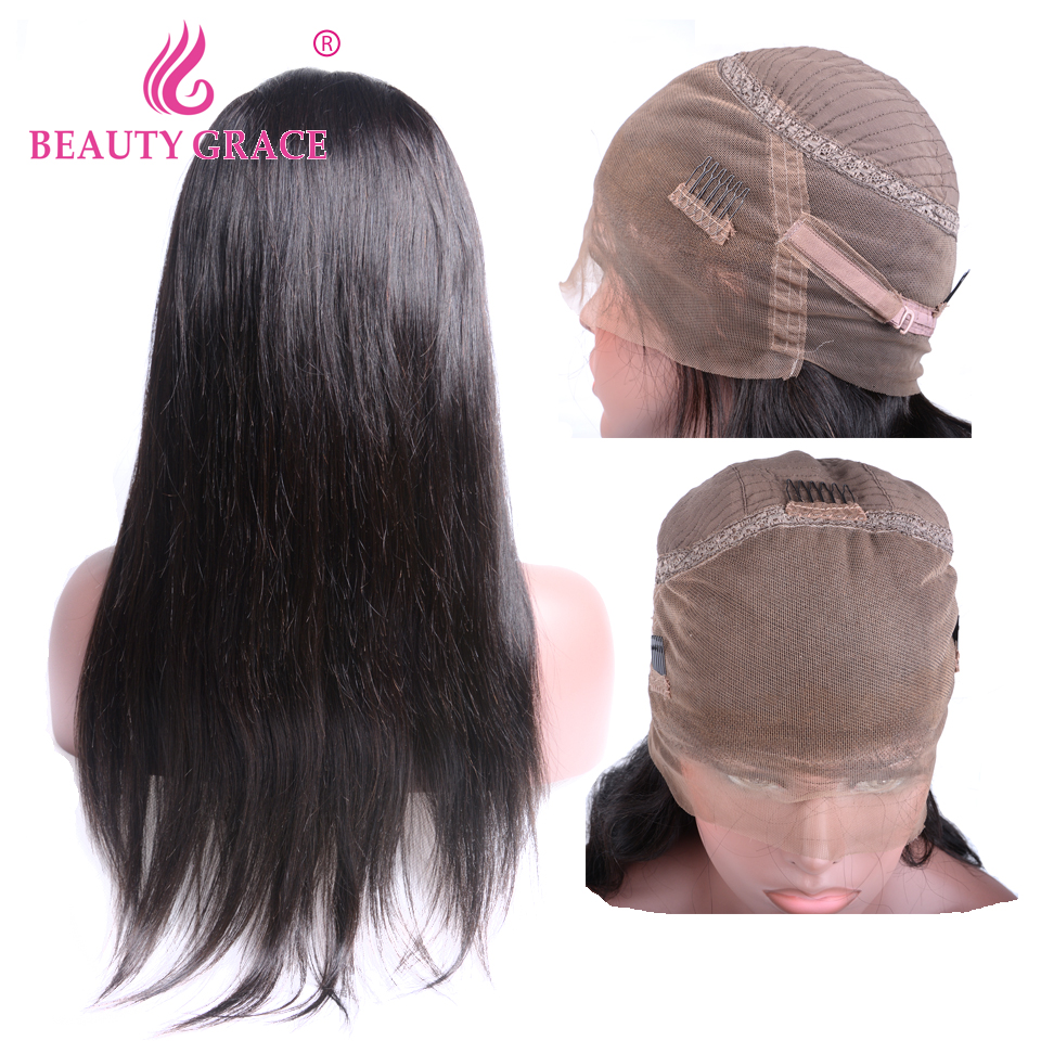 360 Lace Frontal Wig With Baby Hair Brazilian Straight Hair Non Remy Lace Frontal Human Hair Wigs For Women Bleached Knots