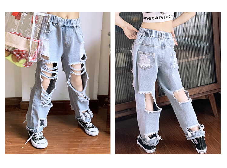 Spring Summer girls jeans baby denim pants kids trousers children ripped jeans streetwear irregular front back hole 3 to 12 yrs