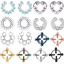 1 par de aço cirúrgico flor falso nipple anel sexy não piercing nipple escudo clipe no falso tepel piercing mamilo femmes jóias