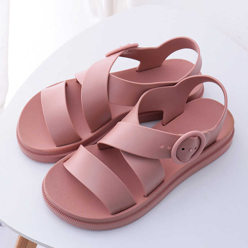 Mcckle Nữ Đế Bằng Võ Sĩ Giác Đấu Khóa Mềm Jelly Giày Sandal Nữ Nữ Phẳng Nền Tảng Người Phụ Nữ Giày Đi Biển Mùa Hè Giày