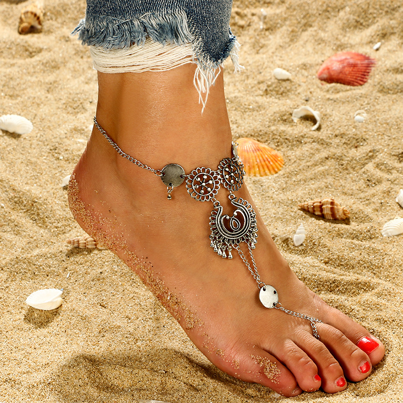 Fashion Foreign Trade Jewelry Simple Flower Hollow Carve Patterns Or Designs On Woodwork Water Drop Tassel New Anklet Anklet Anklets Aliexpress