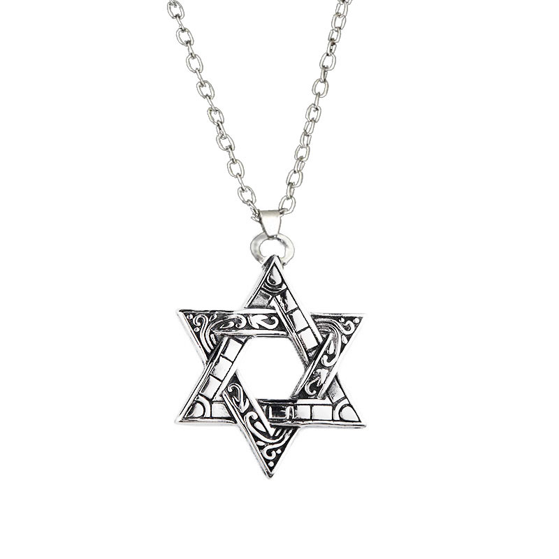 2020 New Six-Pointed Star Necklace Men's Fashion Hip Hop Accessories Retro Double-Sided Pattern Pendant Boys Pendant Gift image