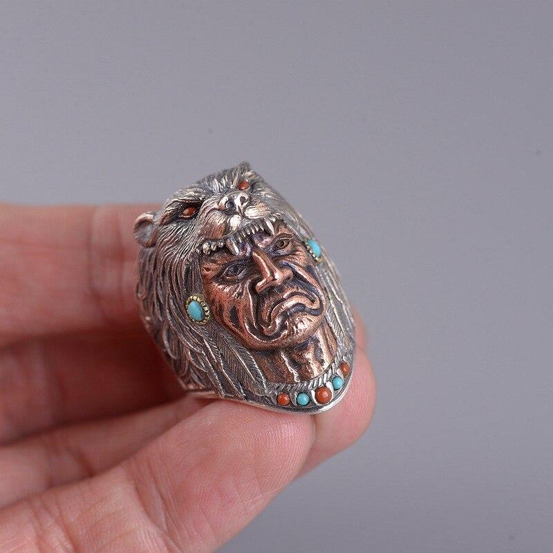 925 argent indien anneaux pour hommes Vintage rétro Type tête de loup Satan gravé rouge Onyx et Turquoise pierre réglage