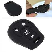 цена на 4 Buttons Durable Silicone Plate Car Key Case Protector Holder fit for Nissan March Qashqai Sunny Sylphy Tiida X-Trail