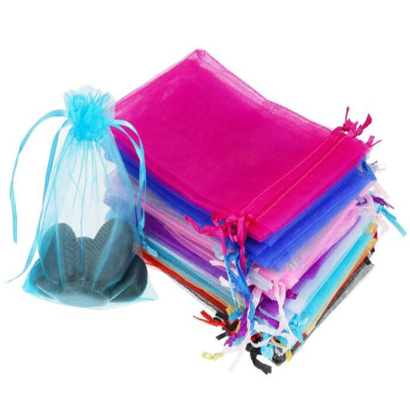 50pcs 7X9cm Drawable Organza Bags Wedding Gift Bags small Jewelry Packaging Bag tulle fabric Organza Sheer Bags 6Z title=