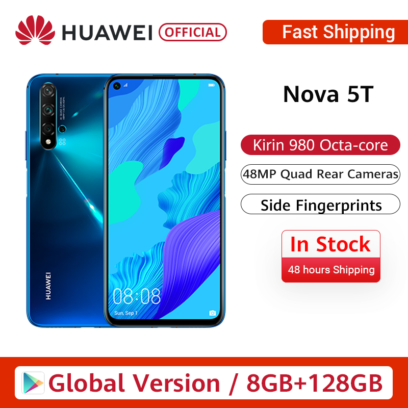 In Stock Global Version Huawei Nova 5T 5 T 8GB 128GB Smartphone 48MP Cameras 32MP Front Camera 6.26'' Screen Kirin 980 Android 9