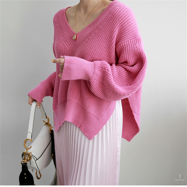Фото вязаные свитера для женщин осень wnter новые корейские элегантные цена