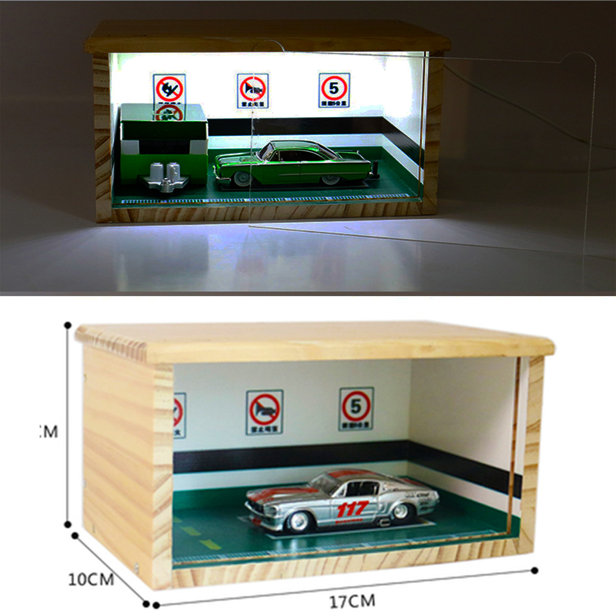 1/64 Scale Car Model Display Cover Box Showcase Underground Garage Wood Parking Lot Storage Dustproof Vehicle Toy Gift Set Show
