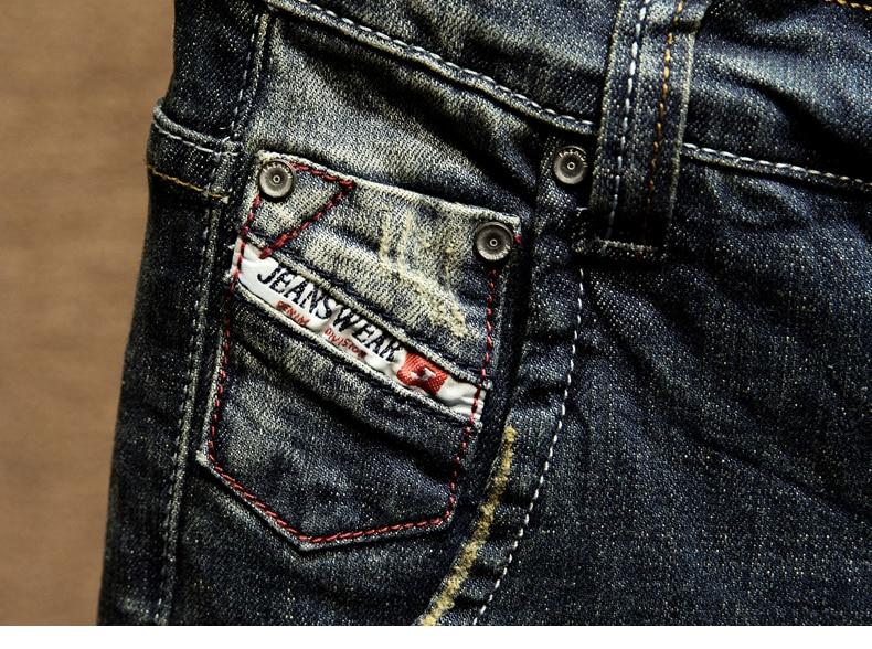 KSTUN Mens Dark Blue Jeans Pants Denim Slim Fit Elastic Casual Punk Jeans Men High Street Vintage Scratched Fashion Pockets Designer 15