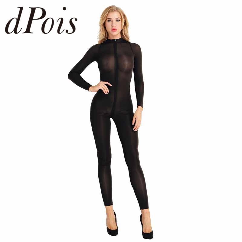Women Lingerie Long Sleeves Double Zipper Sheer Smooth Bodysuit Jumpsuit Catsuit