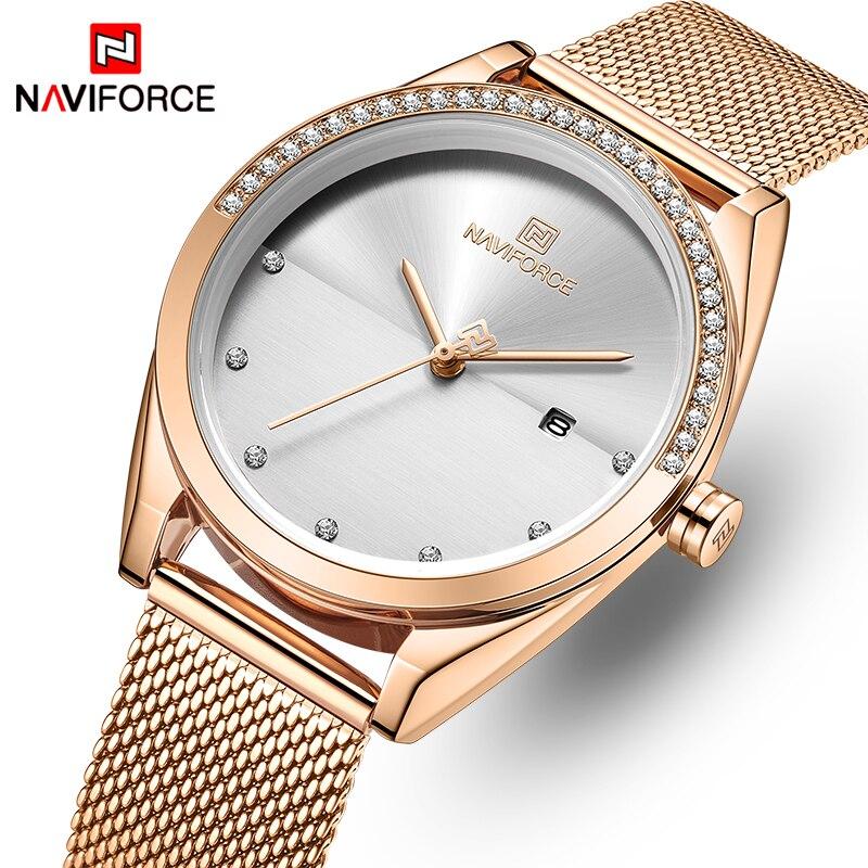 NAVIFORCE Gold Watch Women Quartz Watches Lady Waterproof Wristwatch Womens Bracelet Female Clock Relogio Feminino Montre Femme