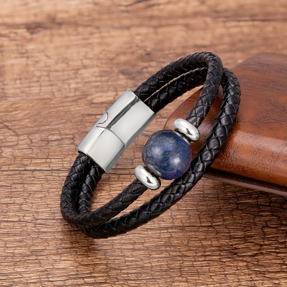 Fashion Genuine Leather Bracelets For Men Charm Stainless Steel Magnetic Bracelet Mens Jewelry Natural Tiger Eye Stone Pulseras