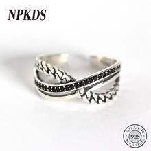 Sterling Silver 925 Weave Chain Black Zircon Rings Silver Three Layer Creative Korea Rings for Women Festival Jewelry Original(China)