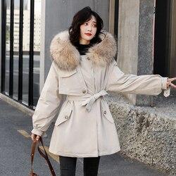 Женский длинный пуховик с натуральным мехом на утином пуху, теплая ветрозащитная куртка с капюшоном и поясом, зима 2020