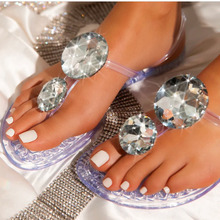 Women's Slipper 2021 Summer Shoes Transparent Diamond Sandals and Women Slippers Flat with Flip-flops Bohemian Style FS21S16