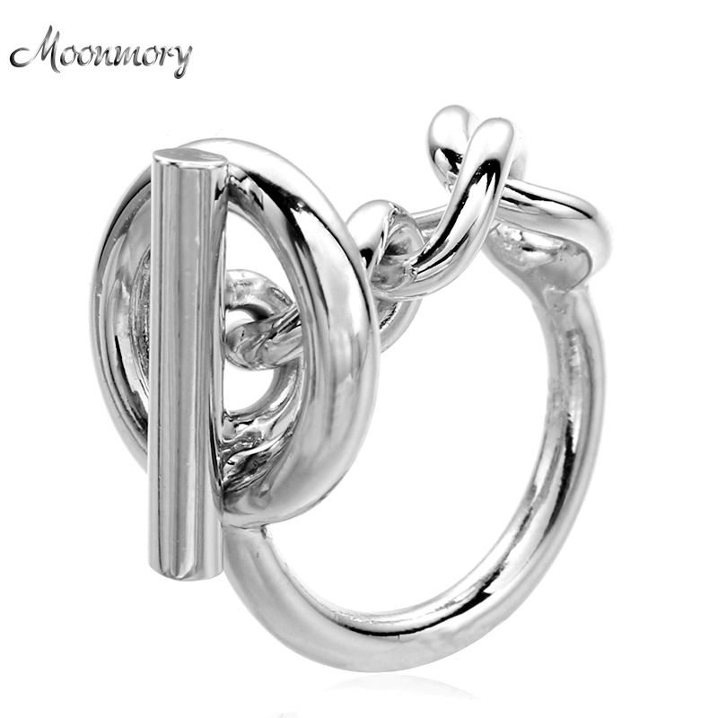 Moonmory Pure 925 Sterling Silver Wedding Thread Lock Ring With Chain For Women High Quality Female Bijoux Wholesale
