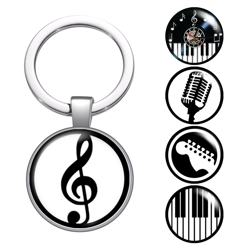 Music Note Musical Instruments Glass Cabochon Keychain Bag Car Key Chain Ring Holder Charms Silver Keychains For Men Women Gifts
