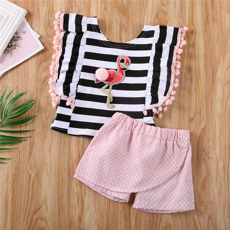 Free shipping Summer Baby Kids Girls clothes Tassel pullover Flamingo Print Striped vest Ruffle Geometry Shorts 2pc cute Outfits