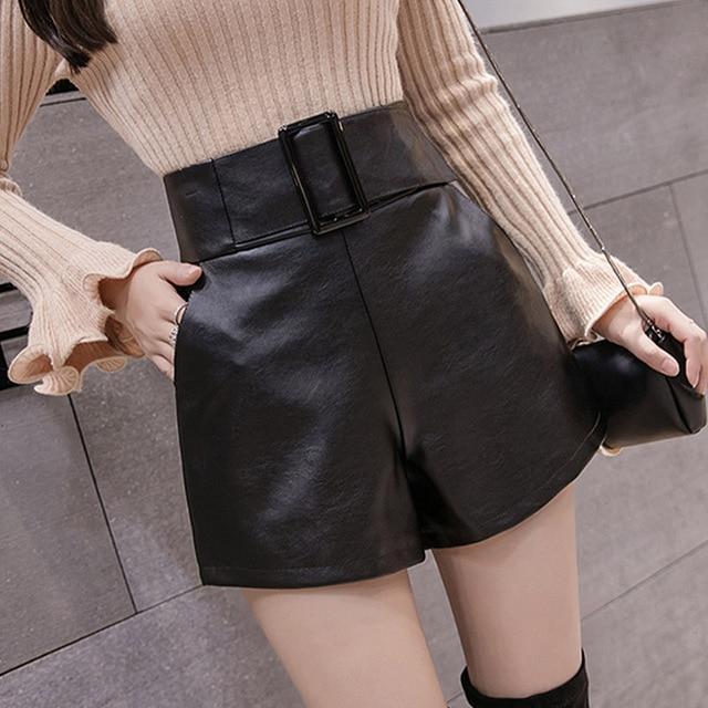 2019 Korean PU Faux Leather Shorts Women Autumn Winter High Waist Wide Leg Short ladies Plus Size Sexy Black Belted Short Femme 3