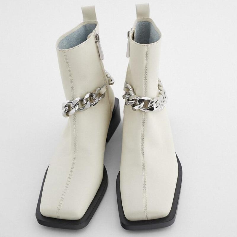Купить katelvadi челси сапоги бежевые кожаные цепи модная повседневная
