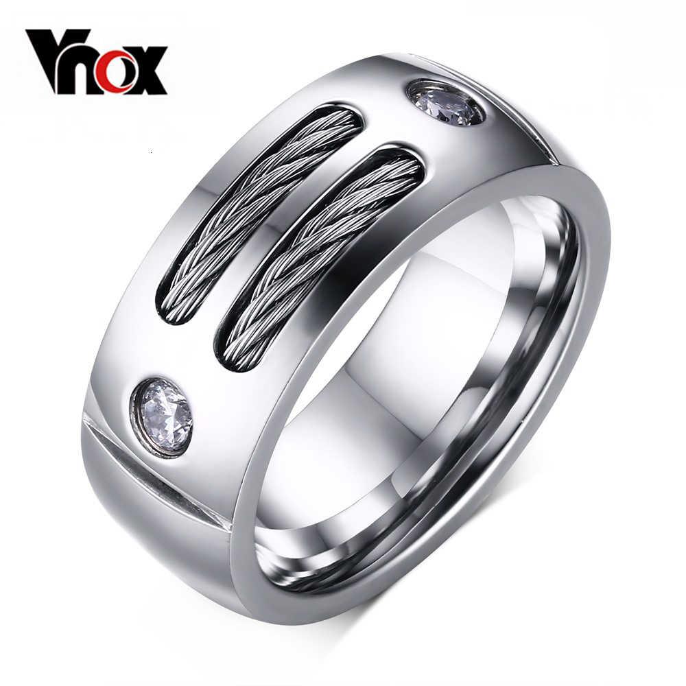 Vnox Для мужчин кольцо Нержавеющая сталь панк-рок кольцо с Провода Цирконий партия изделия США Размеры
