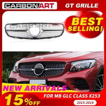 GLC class X253  grille Car Front diamond Grille for Mercedes GLC class X253 Silver Chrome black Design ABS replacement - DISCOUNT ITEM  0% OFF All Category