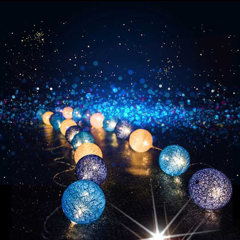 Cotton Balls Light Chain Christmas Decorations For Home Outdoor String Lights Garland LED Ball Brilliant Chanukah Salon New Year