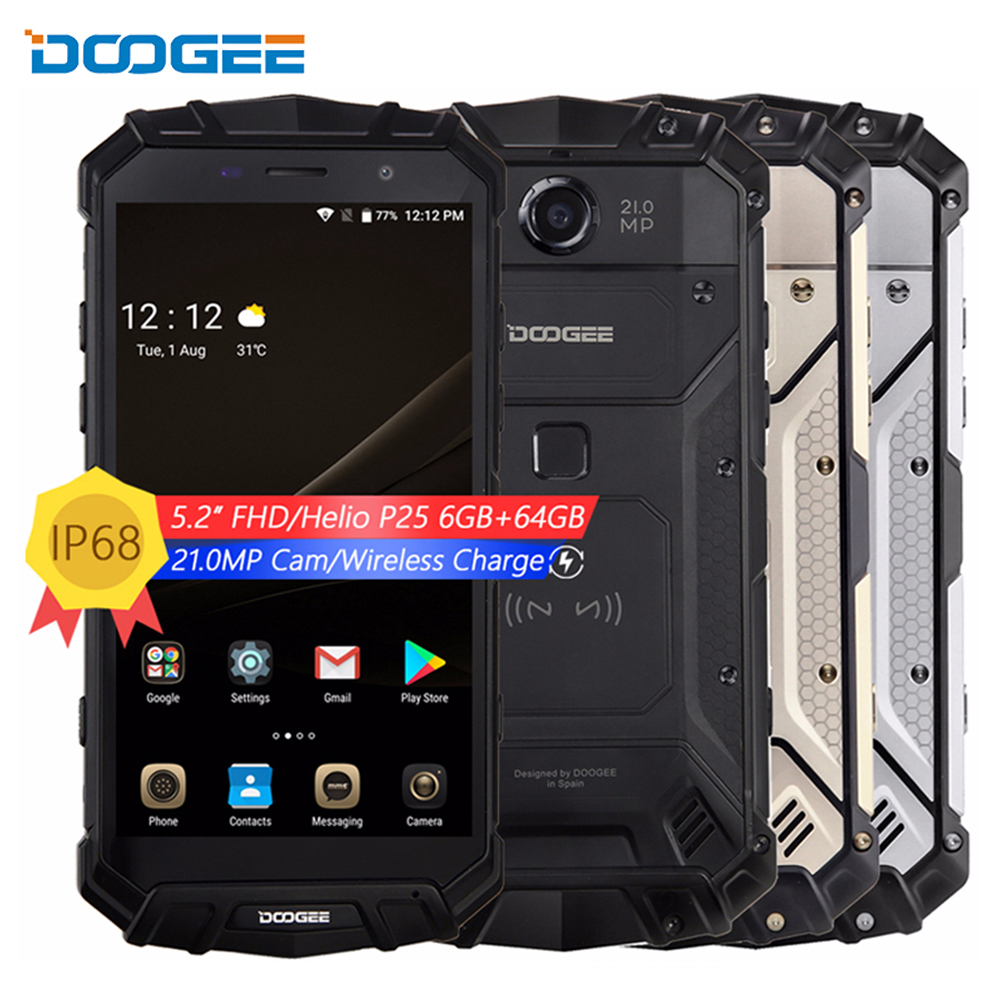 DOOGEE S60 IP68 Rugged Wireless Charge 5580mAh 12V2A Quick Charge Octa Core 6GB 64GB 5.2'' FHD Helio P25 Smartphone 21MP Camera