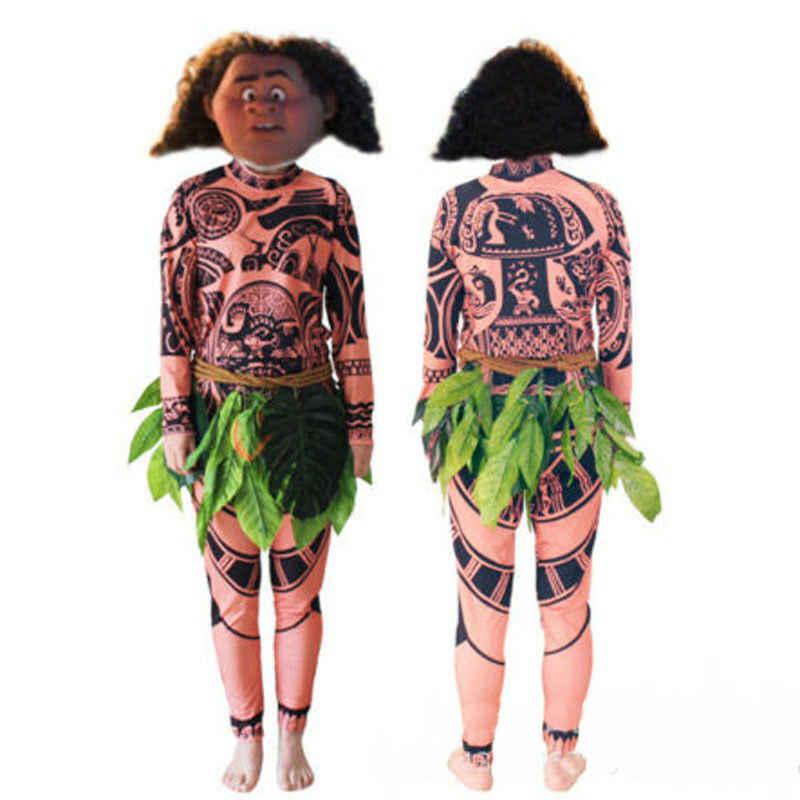 Moana Maui tatouage t-shirt/pantalon Halloween adulte hommes femmes Cosplay Costumes avec feuilles décor Blattern Halloween adulte Cosplay