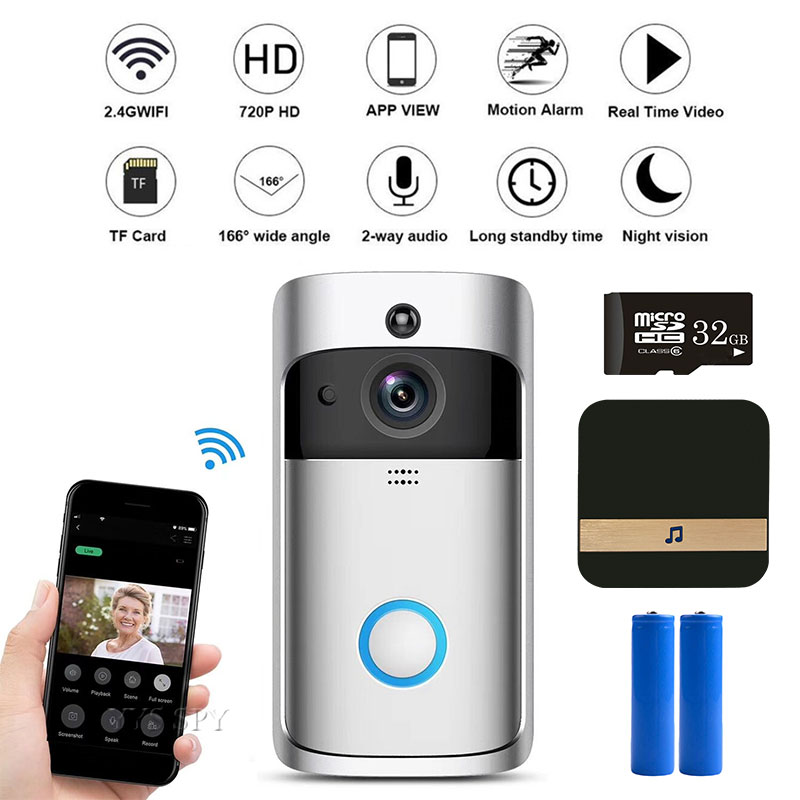 WiFi Doorbell Real-Time HD Video Intercom Auto IR Cut Motion Alarm Door Ring Bell Mini Camera By Phone Monitor For Home Security