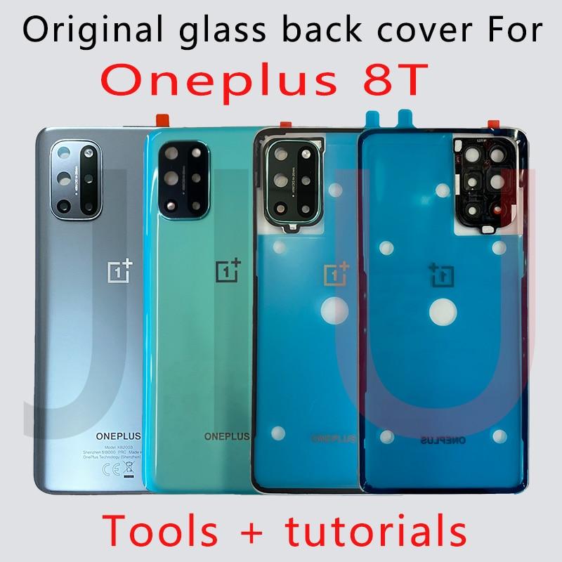 100% новый Стекло зеленый/серебро для OnePlus 8T 5G Батарея задняя крышка Корпус Крышка батарейного отсека Ремонт oneplus 8t сменная задняя панель