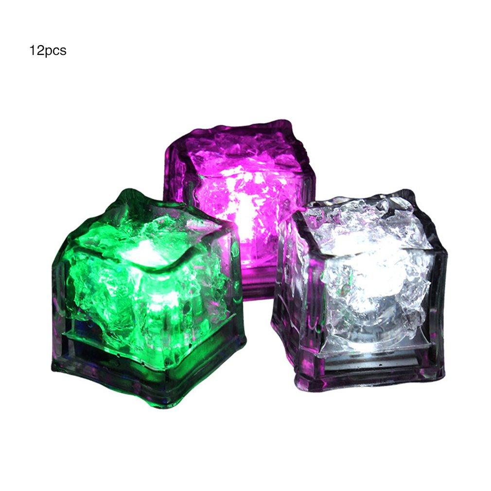 LED Ice Cubes Glowing Party Ball Flash Light Luminous Neon Wedding Festival Christmas Bar Wine Glass Decoration Supplie 12Pcs Dr