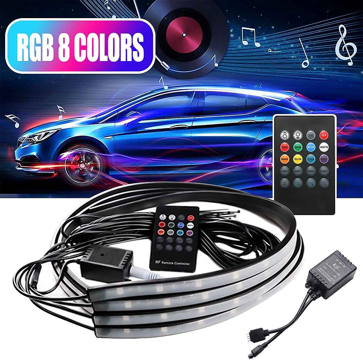 Luces LED de 12V para debajo del coche, tira RGB, sistema de iluminación interior, decoración automática, luces de Ambiente, Control por aplicación remota, 4 Uds.