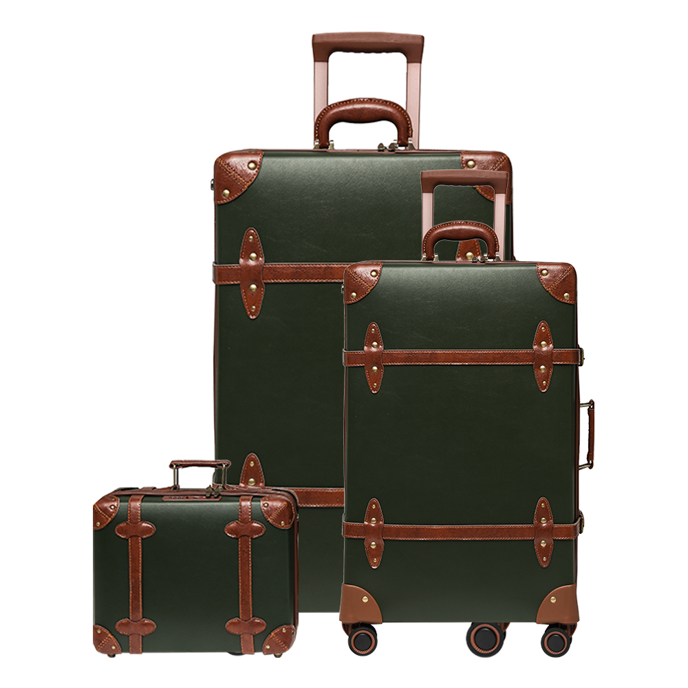 Vintage Luggage Set Carry On Cute Suitcase With Rolling Spinner Wheels Tsa Lock Luggage 3 Pieces High Capacity