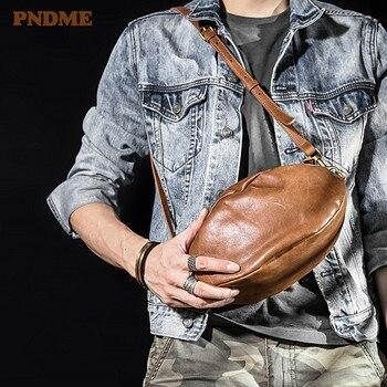 PNDME fashion retro genuine leather mens rugby bag casual natural soft cowhide daily shoulder messenger designer chest