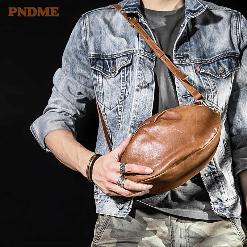 Мужская сумка для регби PNDME, модная Ретро-сумка из натуральной кожи, повседневная сумка-мессенджер из мягкой воловьей кожи, дизайнерская нагрудная сумка